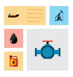 icon flat petrol set of liquid drop oil pump vector image