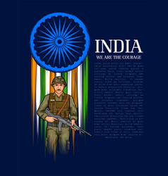 Indian army soilder nation hero on pride of india vector