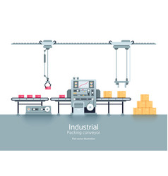 industrial production factory conveyor flat vector image
