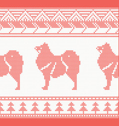 knitted dog seamless pattern in red color vector image