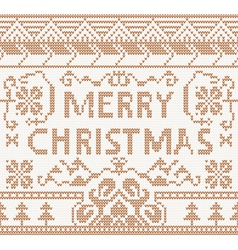 Knitting pattern with merry christmas vector image