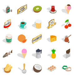 Liquor icons set isometric style vector