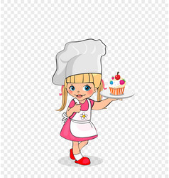 Little girl chef with cake on plate kids menu vector