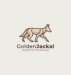 Logo golden jackal walking line art vector