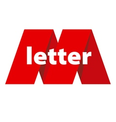 Logo letter m in form red tape vector