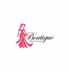 Luxury dress boutique logo template vector