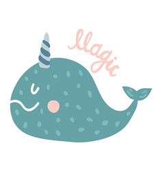 Magic narwhal vector
