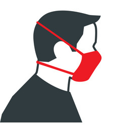 male wearing medical face mask vector image