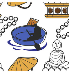 man in boat architecture and headdress travel to vector image
