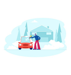 man stand at auto parked near cottage cleaning vector image