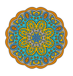 Mandala doodle drawing round ornament blue gray vector