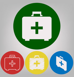 medical first aid box sign 4 white styles vector image