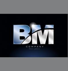 Metal blue alphabet letter bm b m logo company vector