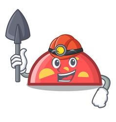 Miner semicircle mascot cartoon style vector