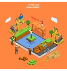 Mobile game development flat isometric vector image