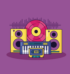music colorful background vector image