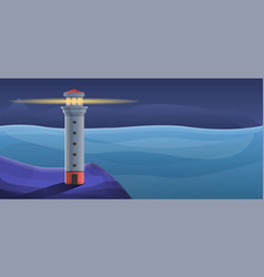 Navy lighthouse concept banner cartoon style vector