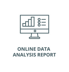 online data analysis report line icon vector image