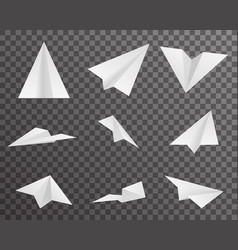 Origami paper airplanes icons set symbol vector