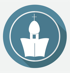 Orthodox cathedral church on white circle with a vector