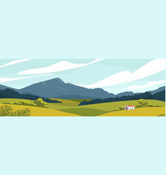 Panoramic landscape with meadows and mountains vector