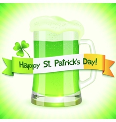 Patricks Day card with pint of green beer vector