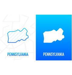 Pennsylvania - us state contour line in white vector