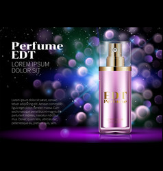 perfume pink glass bottle product advertising vector image