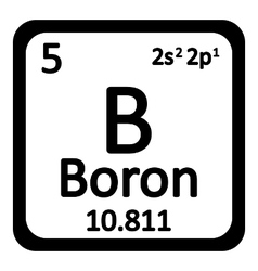 Periodic table element boron icon vector