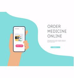 Person buying pills online vector