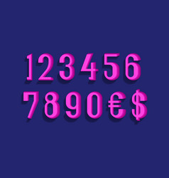 pink numbers with currency signs dollar and vector image