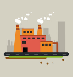 Plant street building chimney factory industry vector