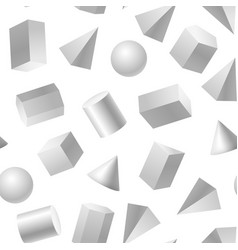 realistic detailed 3d white basic shapes seamless vector image