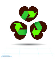 Recycled materials green symbol located on vector