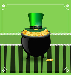 saint patricks day card with gold in pot and vector image