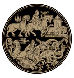 Scandinavian viking design viking riders fight vector