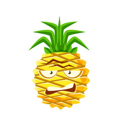 Sceptic pineapple face cute cartoon emoji vector