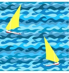 Seamless pattern made waves and yachts vector