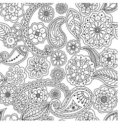 seamless pattern of floral doodle elements vector image