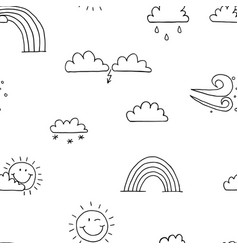 Seamless pattern weather sun rain cloud wind vector
