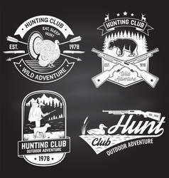 set hunting club badge on chalkboard vector image