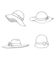 set sketch women hats vector image