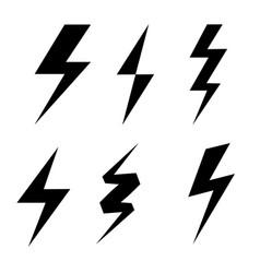 set thunderbolt symbol danger electrical power vector image