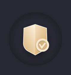 Shield with check mark security logo vector
