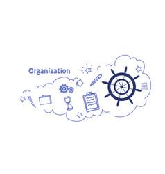 ship steering wheel organization concept sketch vector image