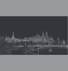 sketch of the moskow kremlin vector image