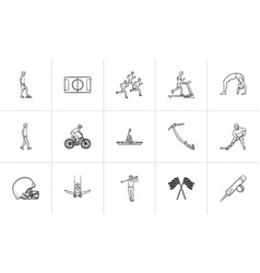 Sports hand drawn outline doodle icon set vector
