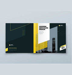 square brochure template design black and yellow vector image
