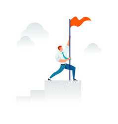 Strong businessman holding a red flag on top of vector