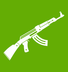 submachine gun icon green vector image